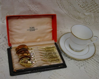 6 Gold Wash Demitasse Spoons from Sweden in Original Box Monogram W