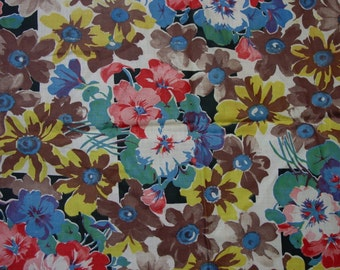 "Fun Vintage 1940's Fabric, Floral Print, 37 x 36"" Wide, Great Color"
