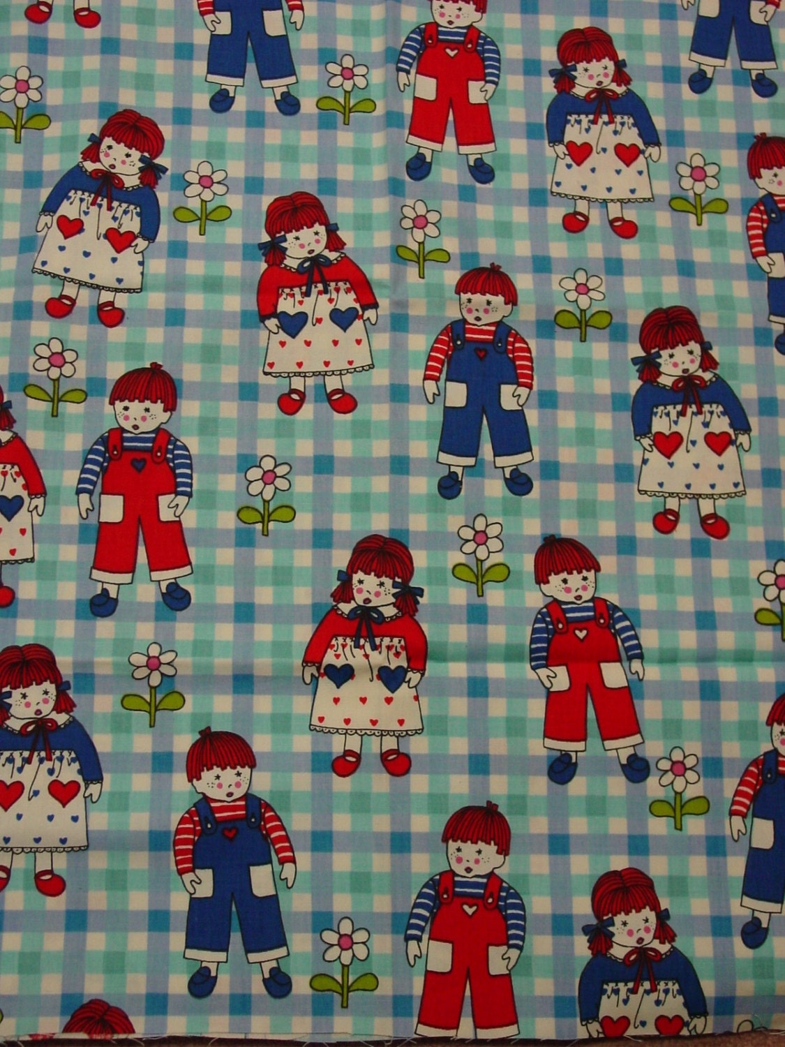 Cute vintage cotton decorator fabric 37 x 50 wide for Cute childrens fabric