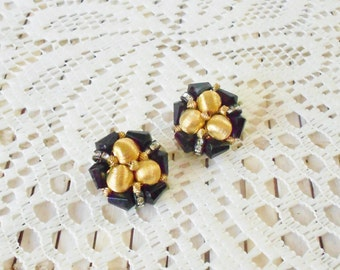 Art Deco style Clip Earrings, Vintage, Black Gold & Rhinestones, Cluster beaded, Classic, Dramatic, Runway style, Jet glass beads, clip ons