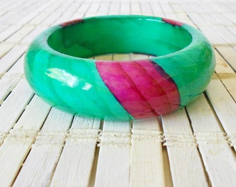 Retro Green & Purple Bangle Bracelet, Chunky bangle, Striped, Thick, Wood bracelet, Lacquer painted