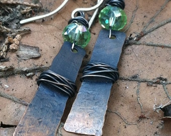 Emerald and copper dangle earrings, hand forged earrings, copper wrapped earrings, artistic, rustic earrings, woodland, fairy