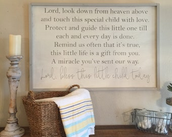 Lord, bless this child today, 24x36 framed sign