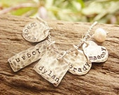 Mother Necklace, Kids Names, Sterling Silver Stamped, Grandmother Jewelry, Distressed Shapes One Two Three Four Five Six Seven Names