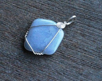 Blue Lace Agate Sterling Silver Pendant #6132