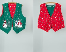 Vintage Ugly Christmas Vest Reversible Red & Green Tacky Holiday Xmas Party Outfit | Ugly Sweater Party Unisex Christmas Party Outfit 15AJ