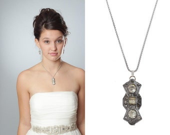 Sterling Silver Necklace Handcrafted Bridal Necklace Wedding Jewelry Art Deco Pendant Sterling Silver Chain Rhinestones 1000547 16E
