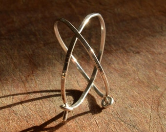 Hammered Hoops - Striped Finish - Simple Closed Hoops - Sterling Silver