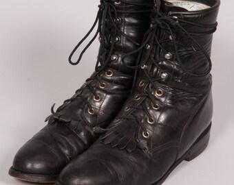 JUSTIN Black Lacers  Men's Size 8 .5 B