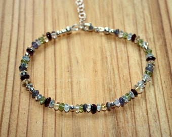 Multi Gemstone Bracelet - Garnet - Peridot - Citrine - Blue Topaz - Iolite - Sterling Silver Bracelet - Gemstone Jewelry - Two Feathers