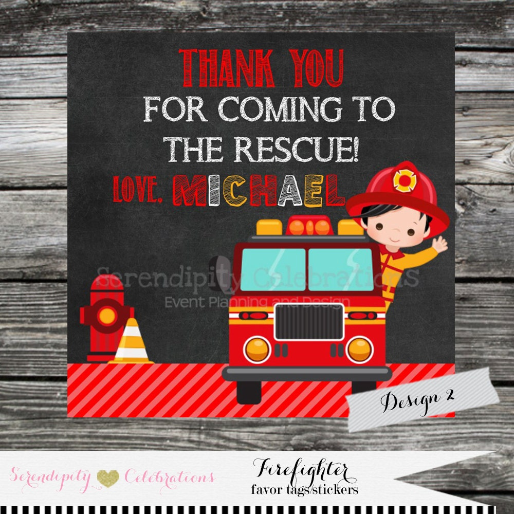 Firetruck Sticker, Favor Tag, Thank You Tag, Gift Tag, Baby Shower ...