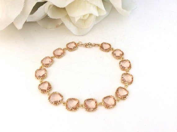 Blush Wedding Gold Bracelet, Champagne Bracelet, Bridesmaids Jewelry, Champagne Wedding, Bridesmaids Gifts, Gifts for Her, Blush Bridesmaid
