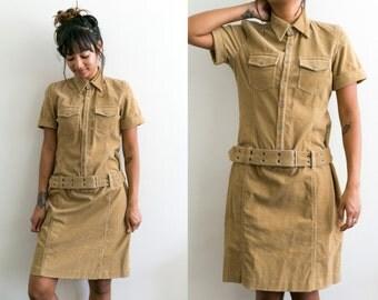 Brown Corduroy Dress / Ralph Lauren 90s Dress / Mini Dress / Button Up Short Dress / Collared Shirt Dress 90s Grunge Short Sleeve Small 2