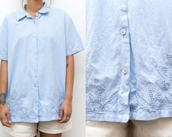 70s Light Blue Button Up Blouse / Embroidered Floral Shirt Button Up Blouse / Crochet Cut Out Mod Hippie Collared Boho Short Sleeve 90s Top