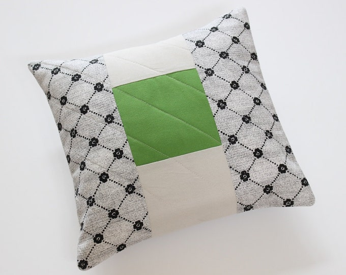 Black White Green Modern Quilted Color Block Pillow