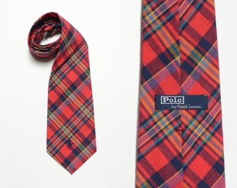 vintage 80s Polo Ralph Lauren tie vintage men necktie cotton red plaid tie preppy trad tie 1980 100% cotton hand made USA