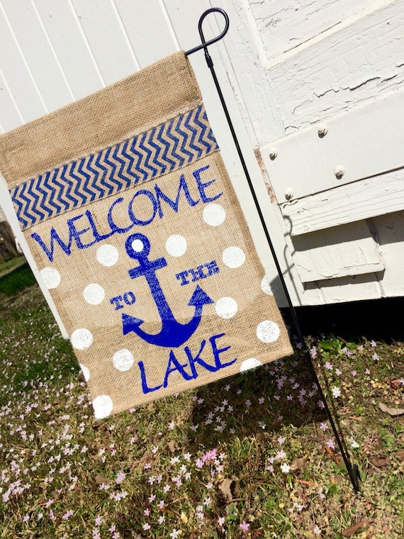 Items similar to anchor burlap garden flag welcome to the for Patriotic welcome home decorations