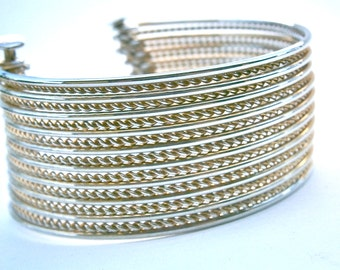 Vintage Gold Tone Cuff Bangle Modernist Multistrand Twist Moveable 19 Thin Strands Textured Smooth Bracelet OOAK One Of A Kind Alternate