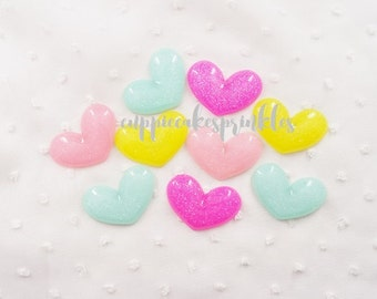 4pcs - Large Glow in the Dark Pastel Glittery Hearts Mix Decoden Cabochon (39x27mm) HRM10012