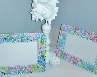 Lilly Pulitzer Inspired LET'S CHA CHA Print Picture Frame by Mama Duck Creations