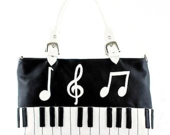 Vinyl Piano Keyboard Bag Purse Handbag Music