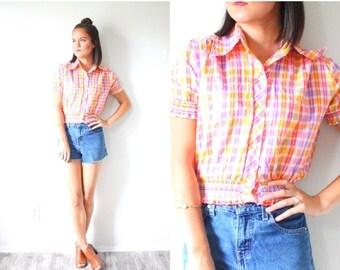 20% OFF HALLOWEEN SALE Vintage plaid short sleeve shirt // orange pink purple plaid blouse // Small Xs // Plaid print t-shirt thin / cowgirl