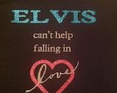 Elvis Can't Help Falling In Love glitter t shirt