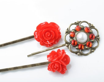 Red rose hair pins, hair pins set, red hair accessories, red flower pins, jeweled hair pins, made in Canada