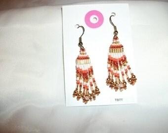 Gold White Orange n Dark Orange Earrings