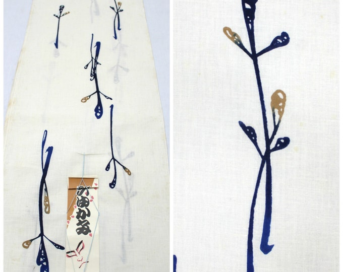 Japanese Yukata Cotton Bolt. Artisan Made Vintage Fabric. Hand Painted Design in White Blue and Brown. (Ref: 1205)
