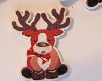 Reindeer Wood Buttons Lot of 10