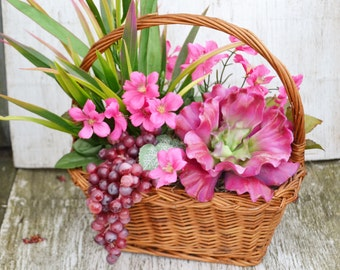 RASPBERRY Color FLORAL GRAPE Basket Arrangement