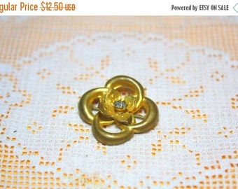 MOVING SALE Half Off Stunning Victorian Gold Washed Lovers Knot Flower Vintage Brooch Pin with Paste Rhinestone