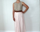 ON SALE // Vintage 1980s Pink Maxi Skirt, 80s Pleated Skirt, High Waist Skirt, Long Linen Skirt