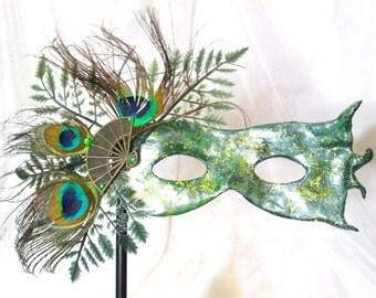 Handheld Peacock Masquerade Mask