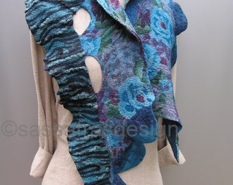Bluegreen hand felted, hand dyed scarf, shawl, OOAK wearable art accessory, women's bohemian fashion accessories, handmade fiber art scarf