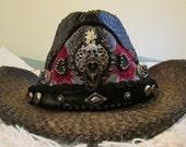 Gypsy Gasparilla Rhinestone and leather Cowboy Hat