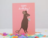 Mouse Birthday Card, Cupcake Mouse Card, Childrens Animal Birthday Card, British Wildlife Card, Cards for Her, Cute Birthday Card