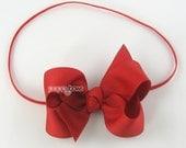 "Baby Headband, red headband, toddler headband, 3"" 3 inch bow headband, newborn headband, infant headband, skinny elastic girls christmas"