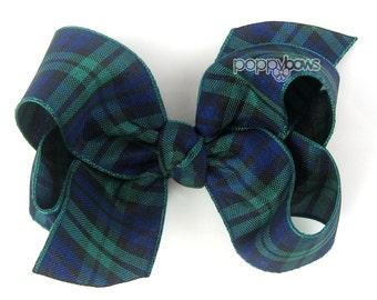 "Plaid Hair Bow - 3"" 3 inch hair bow in navy and dark green Black Watch Tartan, girls plaid hair bow, headband, back to school school uniform"