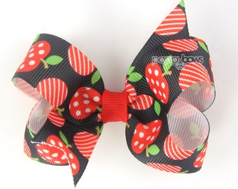 "Back To School Hair Bow, apple hair bow, 3"" 3 inch hair bow, girls hair bow, school hair bows, school hairbows, cute hair bows, black red"