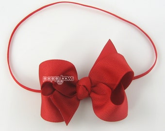"Baby Headband, red headband, toddler headband, 3"" 3 inch bow headband, newborn headband, infant headband, skinny elastic girls christmas"