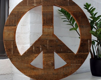 BoHo Peace Symbol Bohemian Wall Decor Rustic Wood Reclaimed Boho chic Natural Modern Peace Sign Hippie