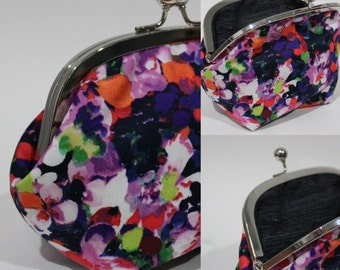 Cotton sateen kisslock clutch