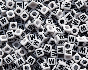 Letter-W, 7x7mm Cube Alphabet Beads Brite White with Glossy Black Letter W, 100pc