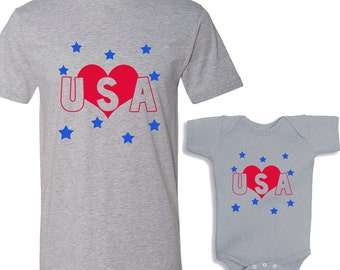 Love USA HEATHER Shirts Daddy and Me Shirt/bodysuit Set