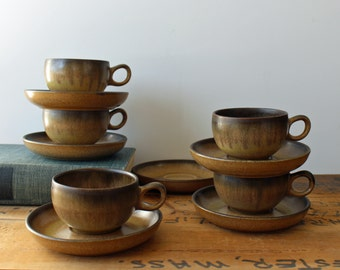 5 Denby Romany brown cups and 6 saucers - vintage English pottery - 1970s stoneware coffee or tea cups - brown drip glaze rustic stoneware
