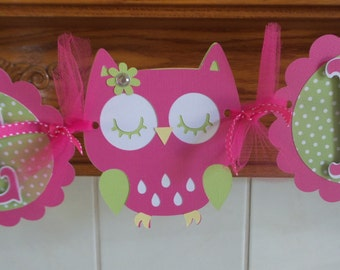 Owl Baby Shower Banner, Welcome Baby owl banner,  hot pink green owl banner, Baby Shower owl banner, Matching Tissue Pom Poms Available