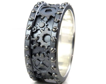 Sandblasted Gray Silver Gear Ring With Rivets