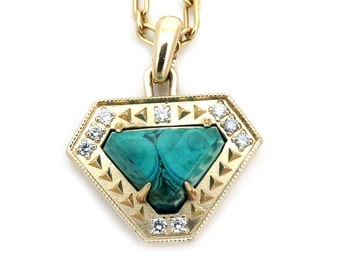 Geometric Malachite and Diamond Yellow Gold Pendant - Ready to Ship - One of a Kind